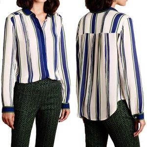 Anthro Maeve Art House Striped Button Down